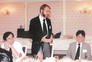 1989年8月の谷口シンポジウム.右が三村さん,中央は Jim Keener, 左は岡本久さん